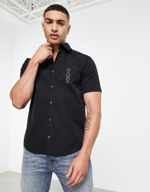 Черная рубашка узкого кроя с короткими рукавами и контрастным логотипом HUGO Ermino-Черный цвет